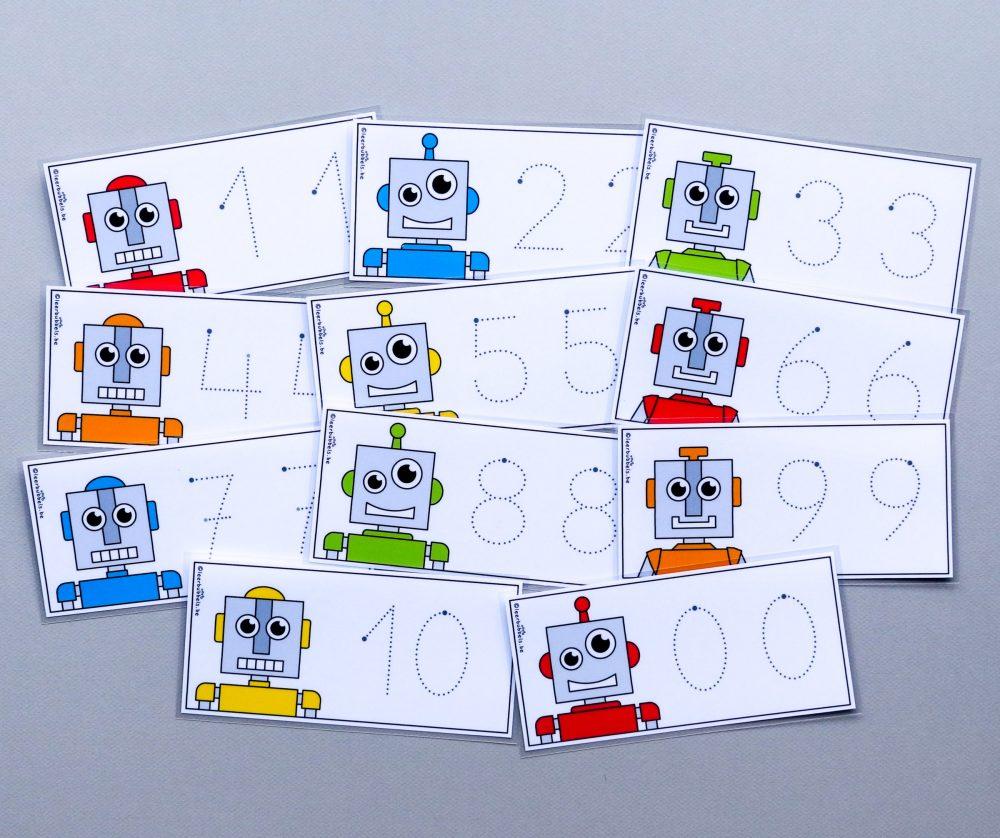 Schrijfkaarten thema robot - cijfers met stippellijnen
