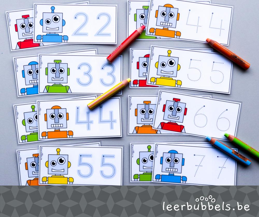 Schrijfkaarten in thema robot om de cijfers te leren schrijven