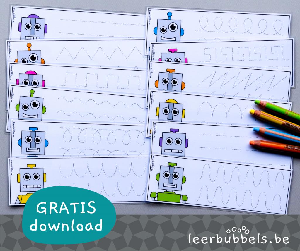 Schrijfkaarten patronen thema robot
