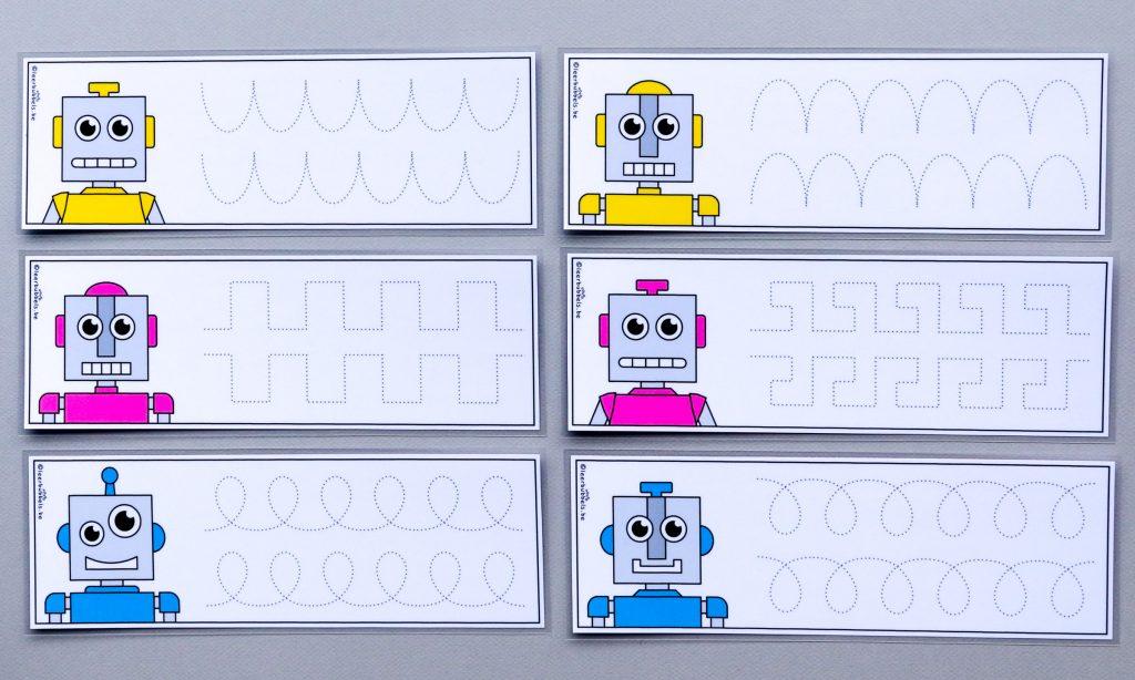 Schrijven bij kleuters thema robots