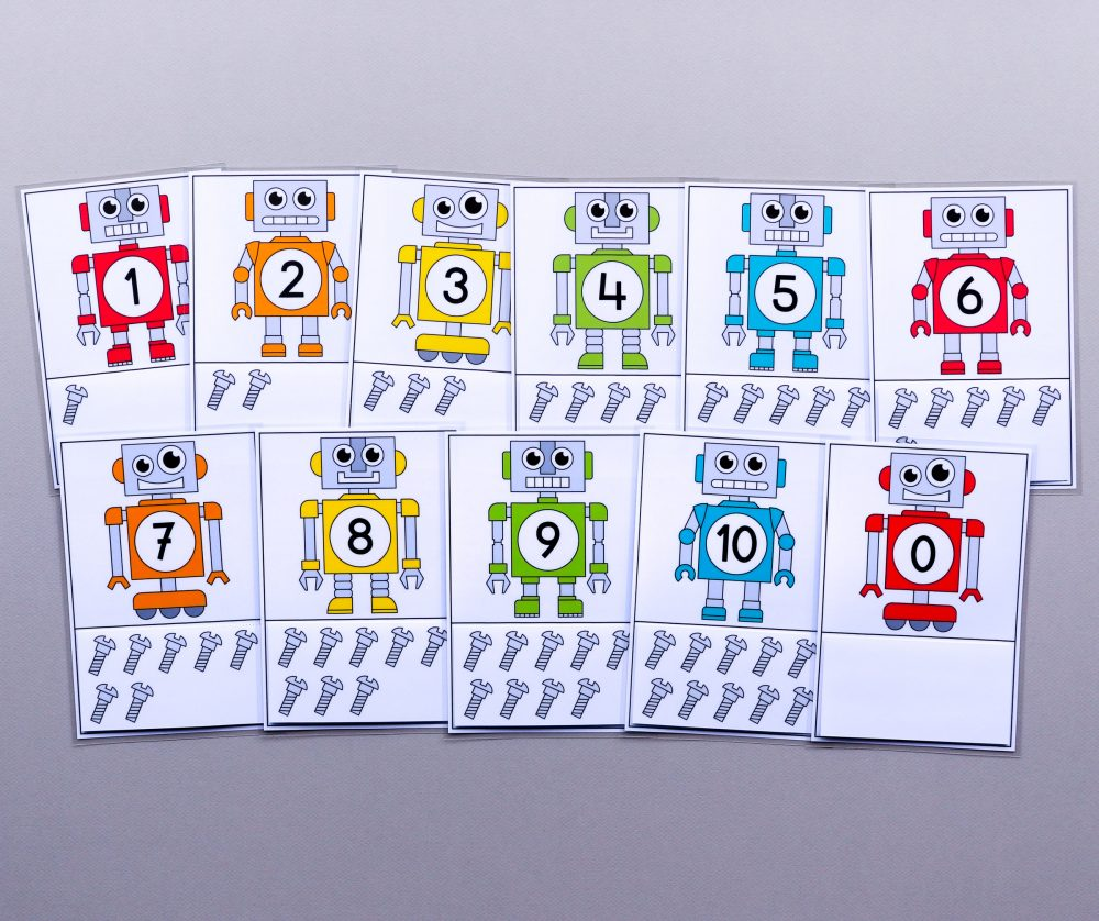Telkaarten van 0 tot 10 thema robots