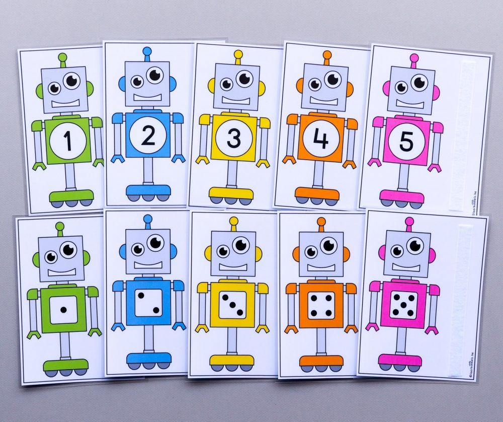 Telkaarten tot 5 voor kleuters thema robots
