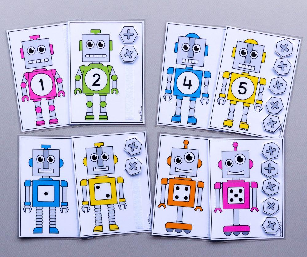 Telkaarten met cijfers of met getalbeelden