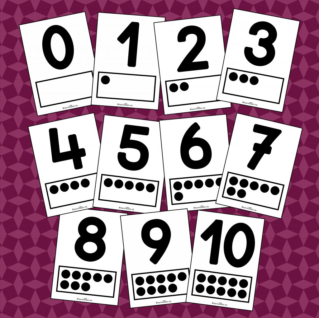 Rekenbubbels - kaartjes met cijfers en getalbeelden ijsbergrekenen tot 10