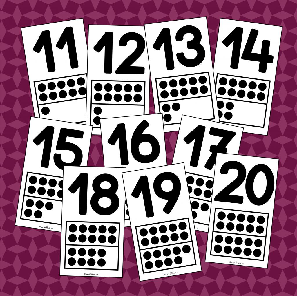 Kaartjes met cijfers en kwadraatbeelden tot 20