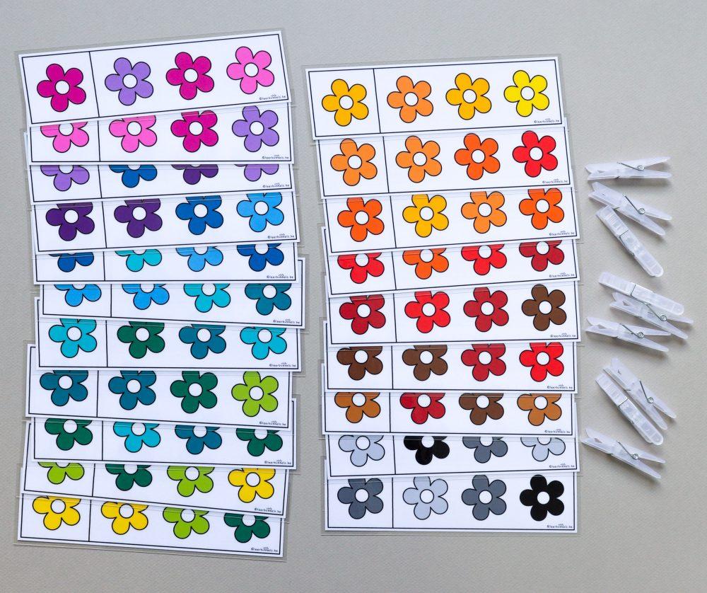 Knijpkaarten thema bloemen kleurschakeringen