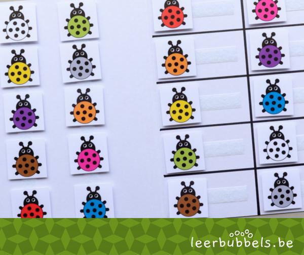 Kleuren matchen thema lieveheersbeestjes