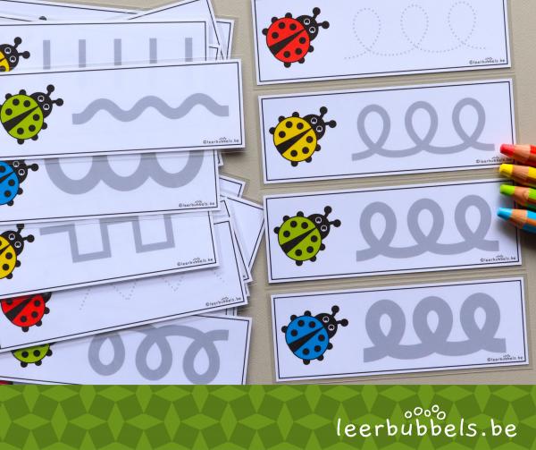 Schrijfpatronen voor kleuters thema lieveheersbeestjes
