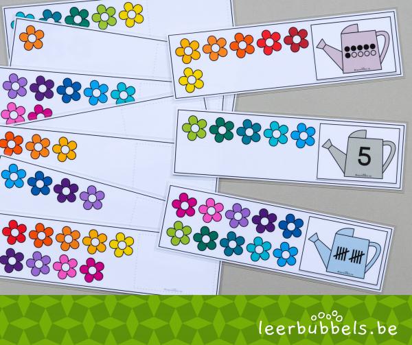 Telkaarten tot 10 thema bloemen - Leerbubbels