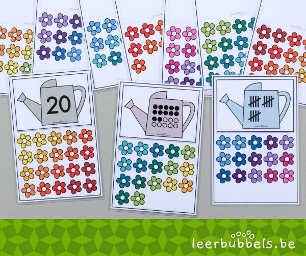 Thema bloemen - thema lente - tellen tot 20 - Leerbubbels