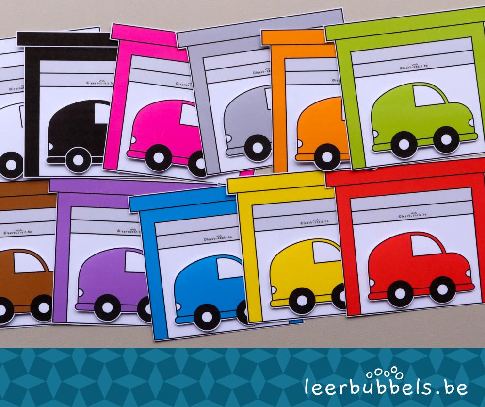 Matchkaarten kleuren thema auto's Leerbubbels