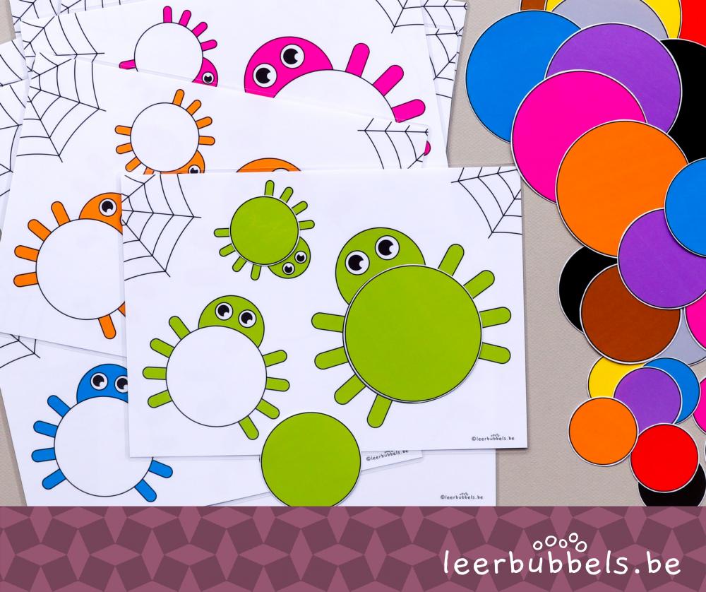 Meet & kleurenspel niveau 1 thema spinnen