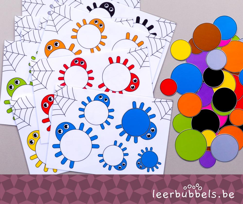 Meet & kleurenspel niveau 2 thema spinnen