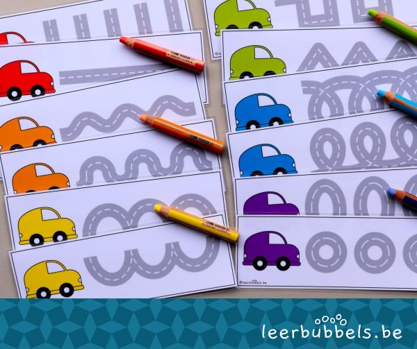 Schrijfkaarten autobanen thema voertuigen