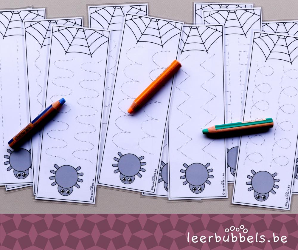 Schrijfkaarten thema spinnen - Leerbubbels
