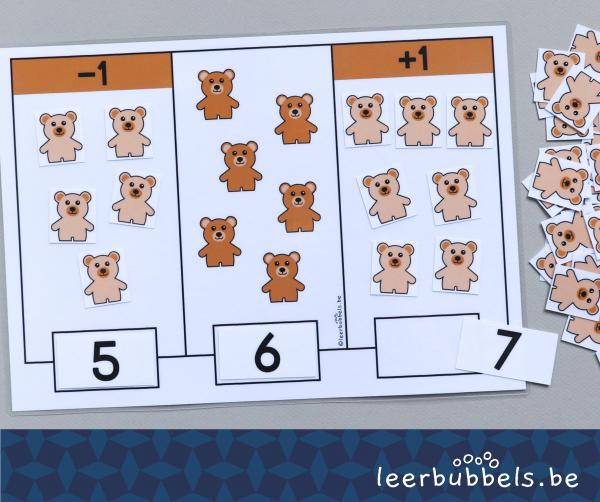 1 meer en 1 minder thema beren Leerbubbels