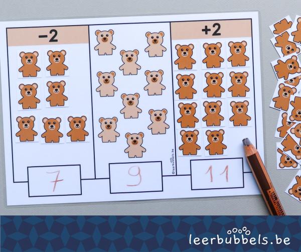 2 meer - 2 minder thema beren Leerbubbels