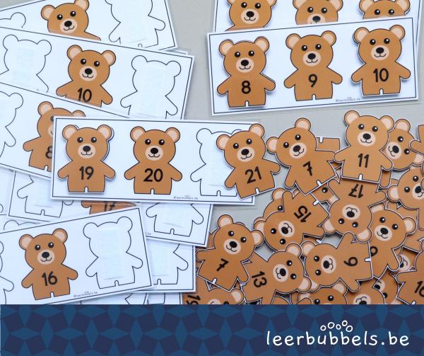 Buurgetallen tot 20 thema beren Leerbubbels