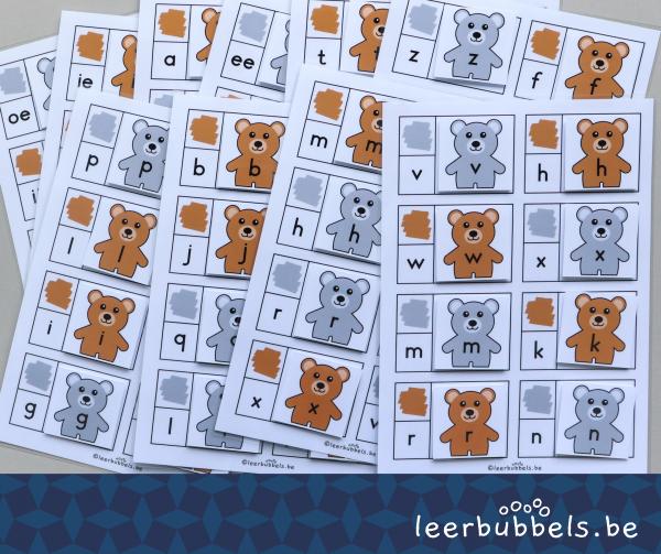 Combikaarten met letters thema beren