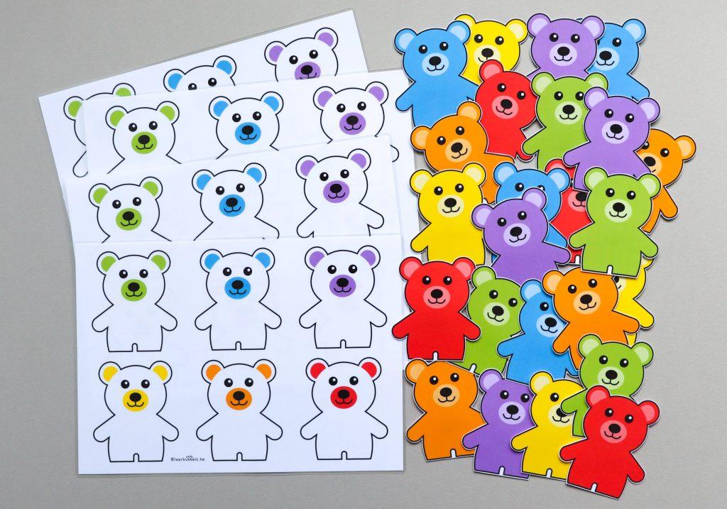Kleurenspel voor de jongste kleuters thema beren