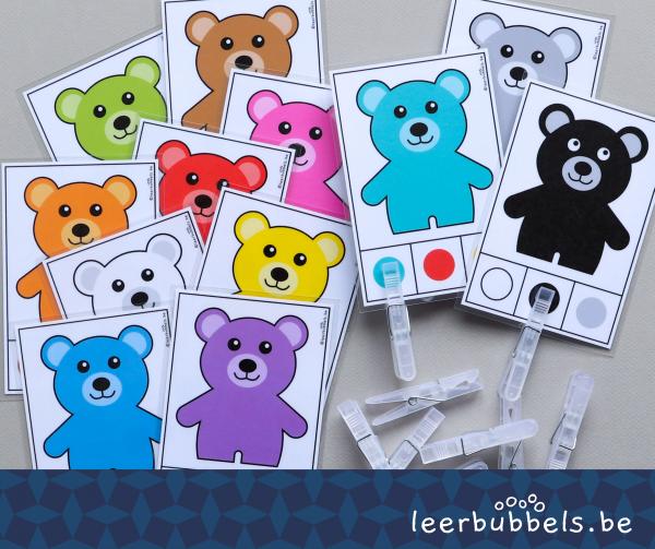 Knijpkaarten kleuren thema beren Leerbubbels