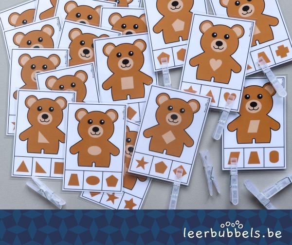 Knijpkaarten vormen thema beren Leerbubbels