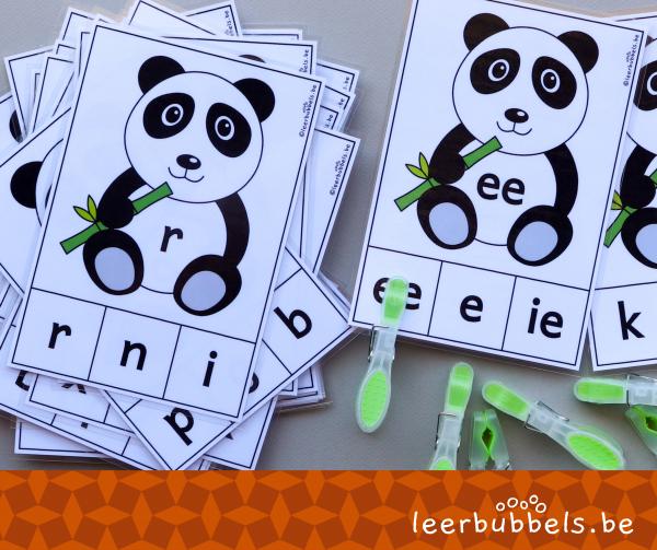 Knijpkaarten letters thema pandaberen