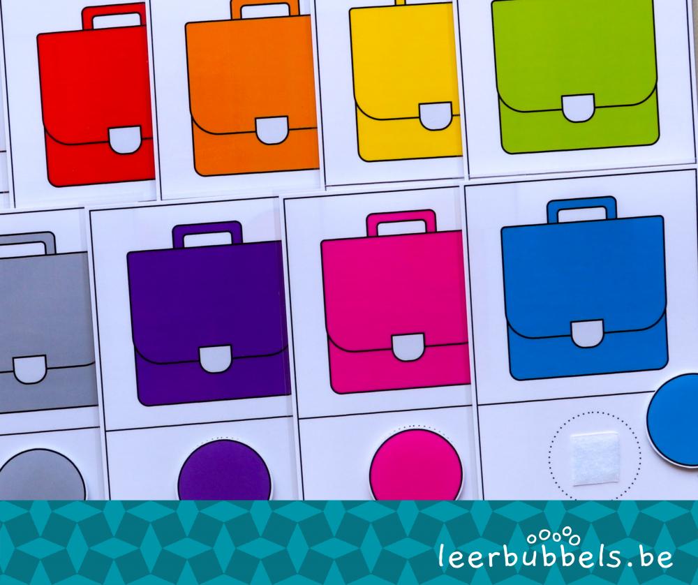 Matchkaarten kleuren thema boekentas