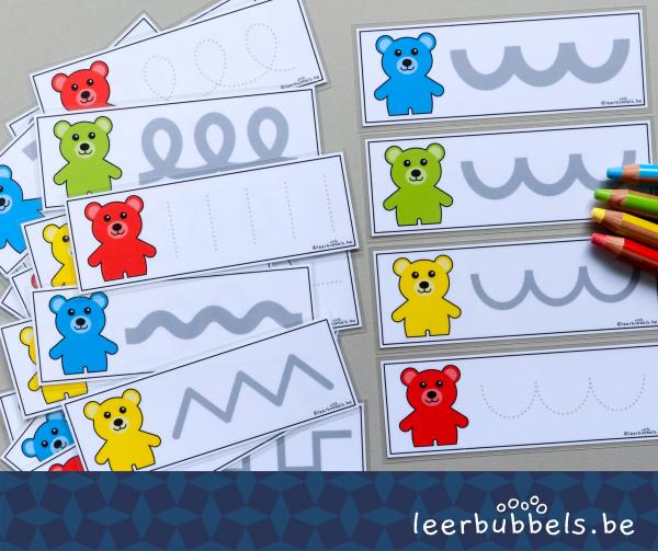 Schrijfkaarten thema beren leerbubbels