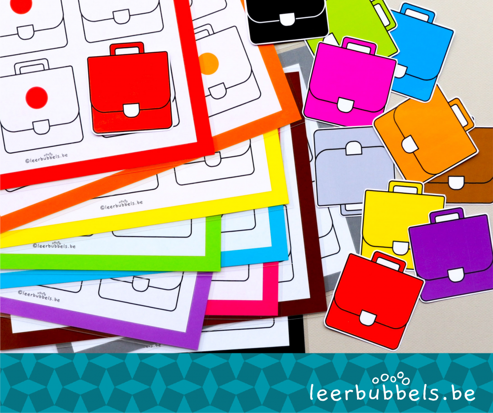 Sorteerspel kleuren boekentas