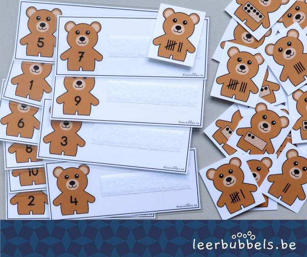 Telkaarten tot 10 thema beren Leerbubbels